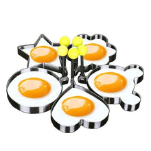 Load image into Gallery viewer, Fried Egg Rings Mold Non Stick for Griddle Pan, Egg Shaper Pancake Maker with Handle, Stainless Steel Egg Form for Frying Cooking