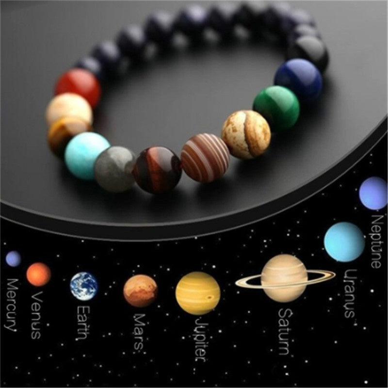 New Fashion Eight Lovers Planets Bead Natural Stone Yoga Chakra Bracelet Universe Galaxy Solar System Bracelets for Men or Women Birthday Christmas Party Gifts Jewelry Accessories