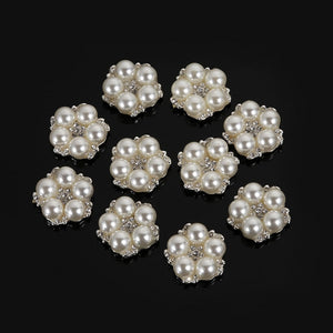 10pcs/Set DIY Flower Rhinestones Buttons Pearl Button Alloy Diamante Wedding Decoration Sewing Decor Accessories