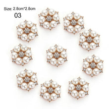 Load image into Gallery viewer, 10pcs/Set DIY Flower Rhinestones Buttons Pearl Button Alloy Diamante Wedding Decoration Sewing Decor Accessories