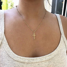 Load image into Gallery viewer, Simple Exquisite Gold Chain Cross Necklace Small Gold Cross Religious Jewelry Women's Necklace