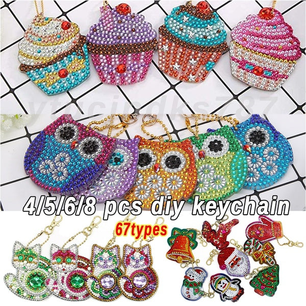 4/5/6/8pcs Christmas DIY Full Drill Special Shaped Diamond Painting Keychain Pendant Gifts