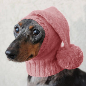 Hot Sale Winter Pets Hats Solid Color Cute Knitting Warm Cap with Hairball Neck Protected Thick Dog Hats Small Medium Large Dogs Suitable Hat Pet Supplies Accessories Plus Size