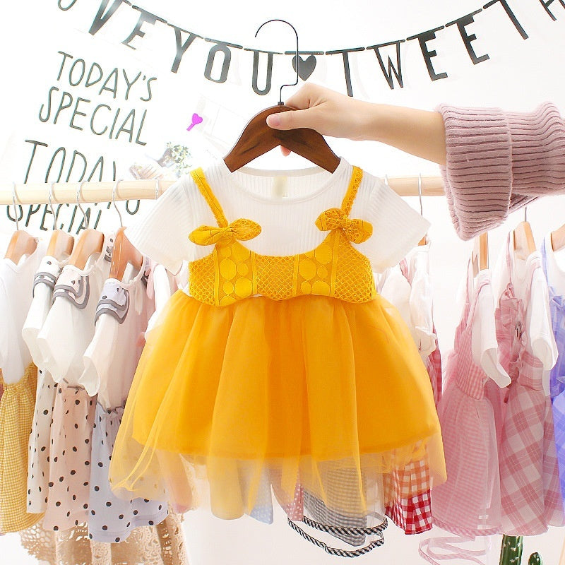 New Fashion Girls Kids Suits Shorts Tulle Suit 0-1-2-3-4 year old girl summer vest suit in Bow Tops Baby