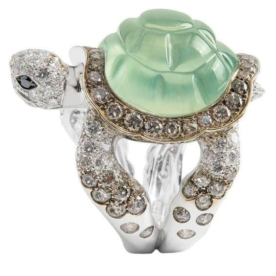 Large 925 Sterling Silver Natural Gemstone Prehnite Tortoise Ring Women Party Fine Jewelry