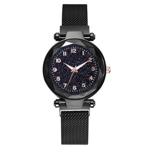 Fashion Women Watches Mesh Magnet Buckle Starry Sky Watch Luxury Ladies Geometric Surface Quartz Watch Gifts