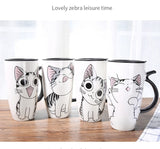 600ml Cute Cat Ceramics Coffee Mug With Lid Large Capacity Mugs