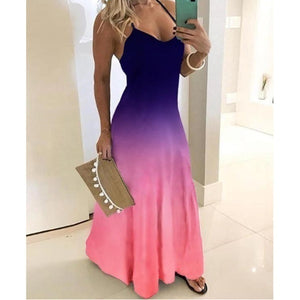 New Women Fashion Spaghetti Strap Colorful Party Evening Dresses Ladies Sleeveless Gradient Color Maxi Dress Beach Dress Sundress V-Neck Long Robes Plus Size S-5XL