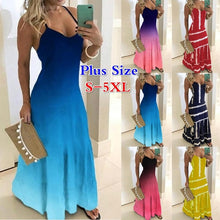 Load image into Gallery viewer, New Women Fashion Spaghetti Strap Colorful Party Evening Dresses Ladies Sleeveless Gradient Color Maxi Dress Beach Dress Sundress V-Neck Long Robes Plus Size S-5XL