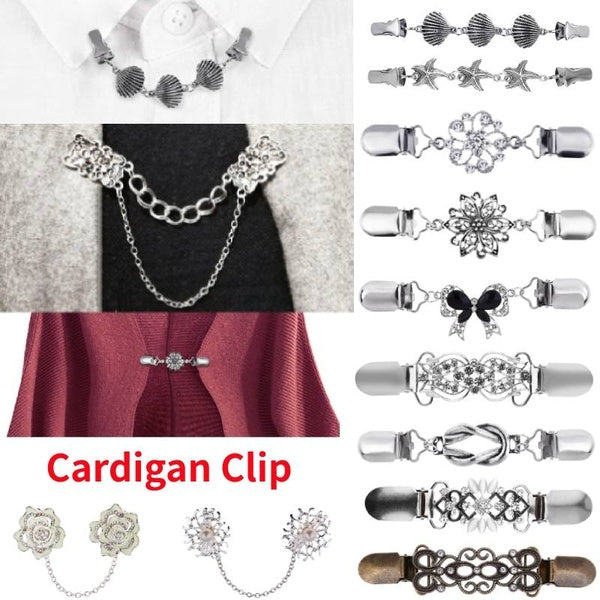 27 Style Women Fashion Vintage Elegant Sweater Shawl Clasps Clothing Pins Antique Silver Clips Cardigan Collar Clip