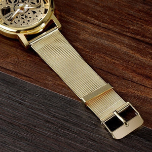 Men'S Fashion Business Hollow Out Quartz Watch Stainless Steel Mesh Belt Dial Pointer Roman Word Round Casual Men Watch Relogio Masculino