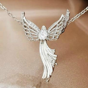 Fashion Creative New 925 Silver Gold Rose Gold Angel Necklace Heart Diamond Necklace Angelwing Necklace