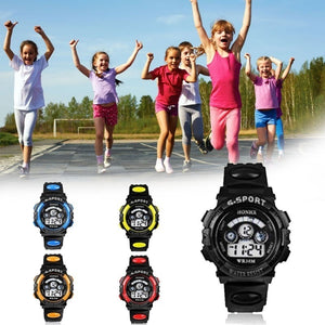 Electronic Luminous Sport Watch Alarm Waterproof Wristwatch Gift for Student Children Kids