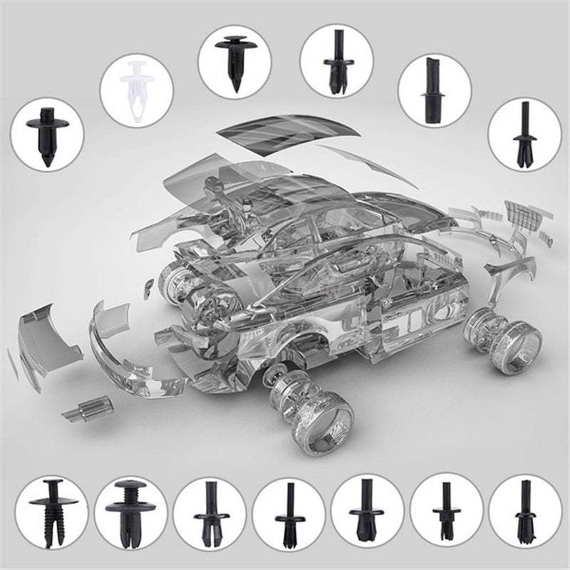50PCS/100PCS/350PCS/415 PCS Tools Case for Car Body Push Pin Rivet Fastener Trim Moulding Clip and Screwdriver Removal Tool