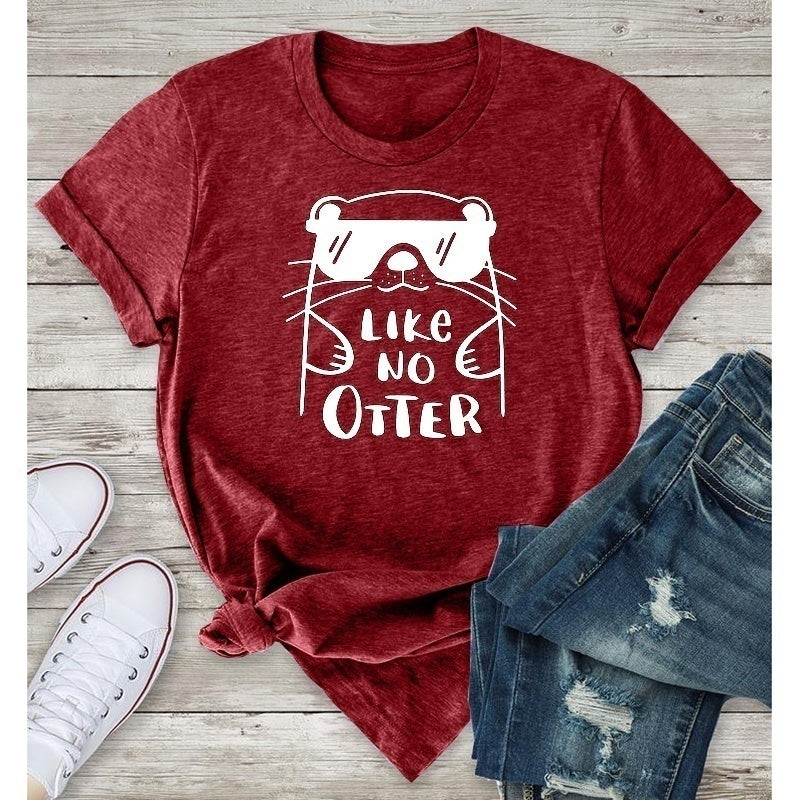 Like No Otter Funny Letter Printe T-shirt Summer New Hot Fashion Women Graphic Tee Shirt Casual Round Collar Short Sleeve T-shirt Loose Cotton Tops for Women Brief Basic Tee Shirt Plus Size S-5xl