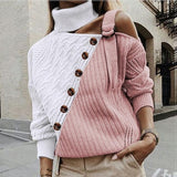 New Design Women's Off Shoulder Long Sleeve Sexy Sweater Fall Winter Fashion Turtleneck Jumper Casual Loose Girl Temperament Knitted Pullover Plus Size S-3XL