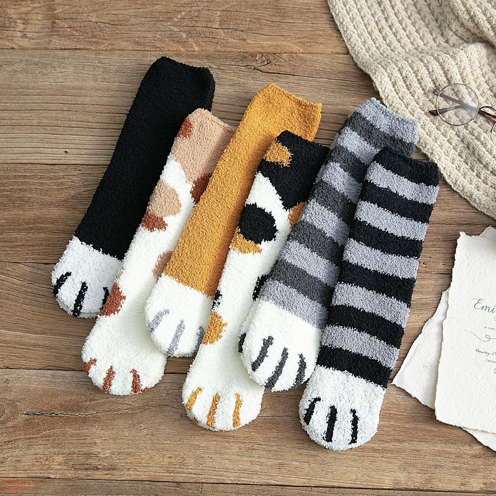 6 Colors New Autumn and Winter Cute Cat Claw Plush Coral Velvet Socks In The Tube Socks Thick Warm Sleeping Floor Sleep Socks