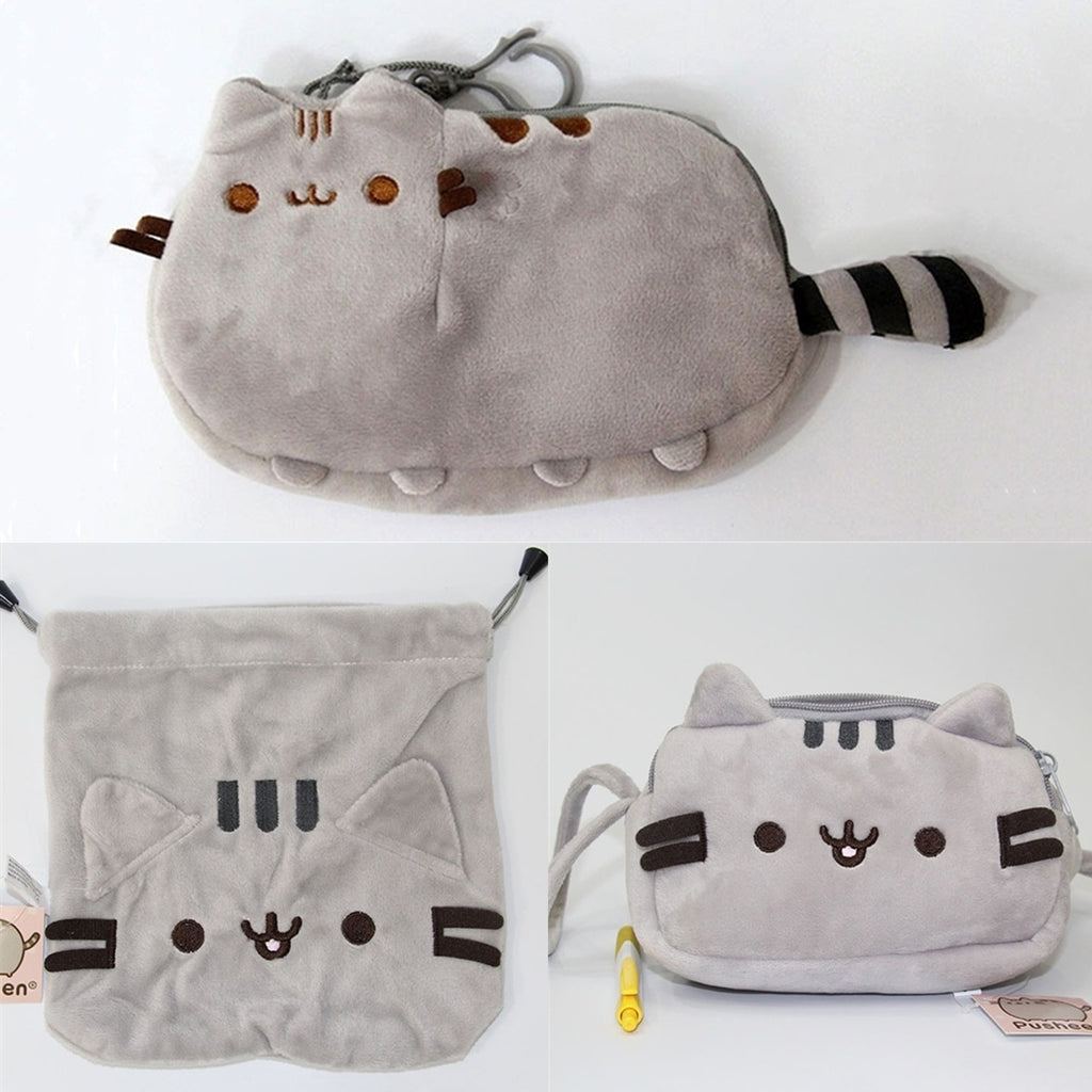 Cute Cartoon Cat Soft Plush Stuffed Toys Coins Purse Pencil Bags Gifts for Kids Students
