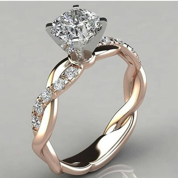 Exquisite Women Fashion 925 Sterling Silver Diamond Ring White Sapphire Bride Princess Wedding Band Party Engagement Anniversary Jewelry
