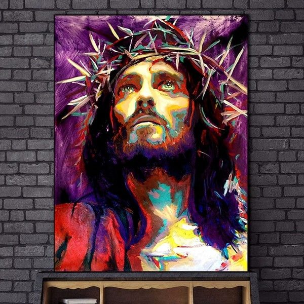 Abstract Jesus Canvas Paintings On The Wall Posters And Prints King Of Kings Graffiti Art Canvas Pictures Home Wall Decoration