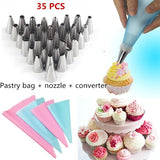 35PCS/SET Silicone Kitchen DIY Sugar Craft Ice Cream Reusable Pastry Bags Decorating Tools Cookies Flower Cup Cake Nozzles Coupler Pastry Piping Tips