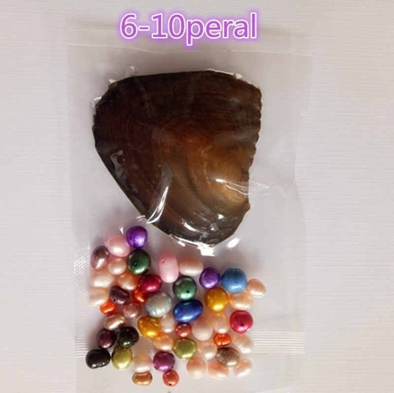 2019-Freshwater Cultured Love Wish Pearl Oyster with Round Pearl Inside 20 Colors, Different Color Pearl Mysterious Surprise Gift