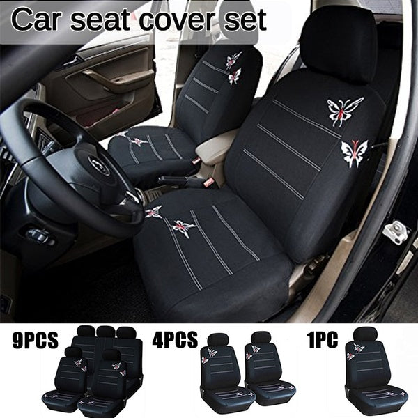Car Seat Cover 9 Piece Set / 4 Piece Set / Single SeatBlack Butterfly Multicolor