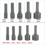1/5/9/14 pcs Hex Socket Sleeve Nozzles Nut Driver Set Batch Heads Sleeve Wrench Hexagonal Handle Screw Sleeve Pneumatic Bits