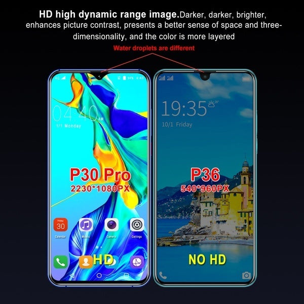 P30 Pro Smartphone 8+512GB Ultra-thin Unlocked Smartphone Face Lock Cellphone Support Dual SIM Card Mobile Phones