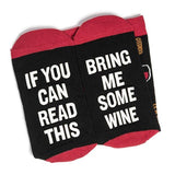 If You Can Read This Bring Me Funny Saying Wine Coffee Novelty Socks Casual Crew Socks For Men and Women