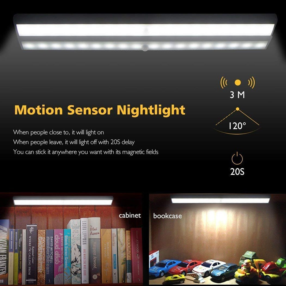 Motion Sensor Closet Light 10 LED Wireless Light Bar Stick-on Anywhere Cabinet Night Light Battery Powered