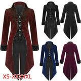 New Arrival Men's Fashion Gothic Steampunk Vintage Tailcoat Long Jacket Men's Victorian Frock Trench Coats Men's Cosplay Costume Royal Tuxedo Plus Size S-5XL