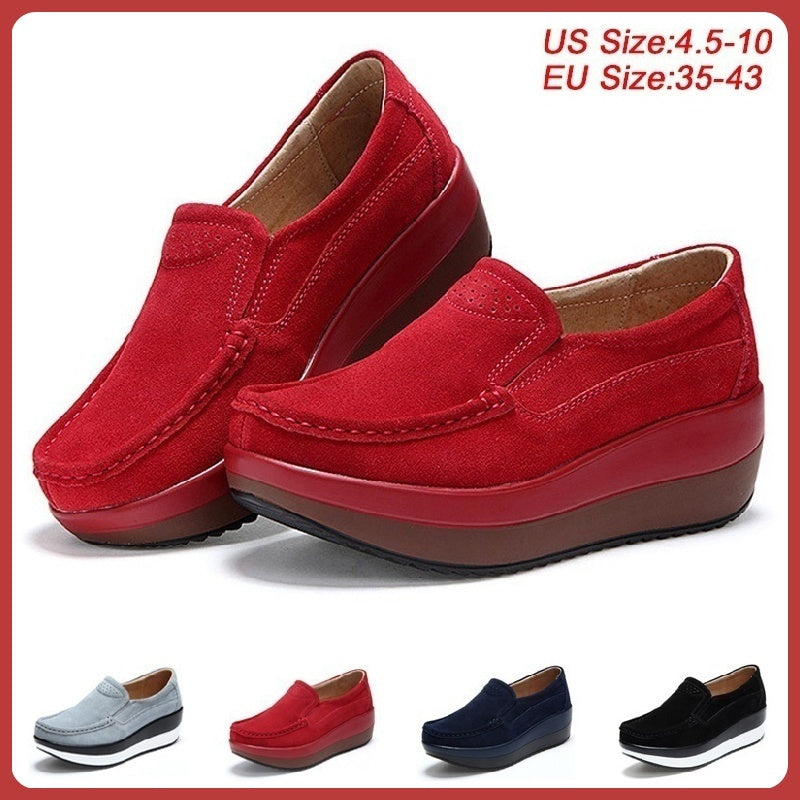 Women's Shake Shoes Leather Platform Shoes Slip-On Casual Wedge Shoes Walking Sneakers Plus Size 35-43 4 Colors