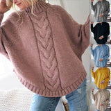 Autumn and Winter Fashion Turtleneck Bat Sleeves Thick Loose Knitted Sweater