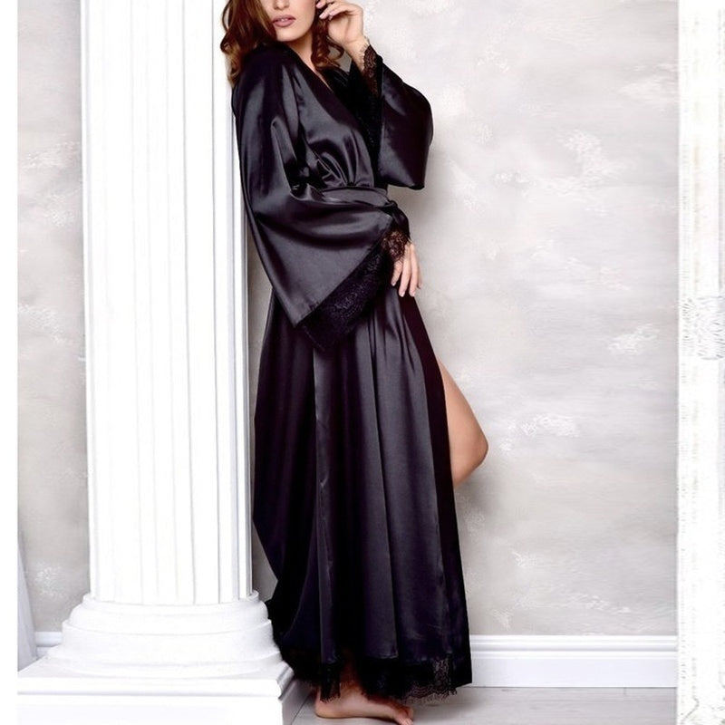 2020 Women's Sexy Silk Satin Kimono Robe Bathrobe Baby Dress Underwear Nightdress Lace Stitching Long Bathrobe Robe Home