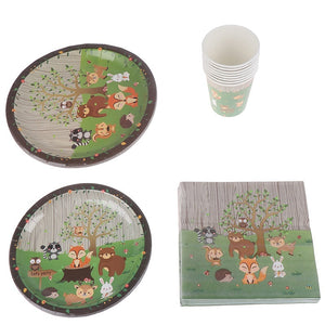 Baby Shower Woodland Party Decor Jungle Animal Cake Border Disposable Tableware