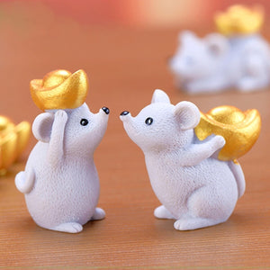 Cartoon Chinese New Year Landscape Accessories Money Fortune Mouse Figurine Miniatures Ornaments Resin Craft