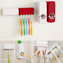 Load image into Gallery viewer, Home Auto Automatic Toothpaste Dispenser + 5 Toothbrush Holder Set Wall Mount Stand (Toothbrushes are not included)