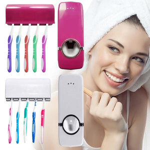 Home Auto Automatic Toothpaste Dispenser + 5 Toothbrush Holder Set Wall Mount Stand (Toothbrushes are not included)