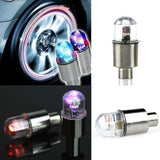 2pcs/4pcs Bike Motorcycle Car Wheel Tire Tyre Valve Cap Flash LED Light Spoke Lamp Auto Accessories Car Supplies Bike Supplies Neon Strobe LED Tire Valve Caps