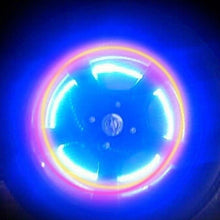 Load image into Gallery viewer, Cool Auto Accessories Bike Supplies Neon Blue Strobe LED Tire Valve Caps-4PCS