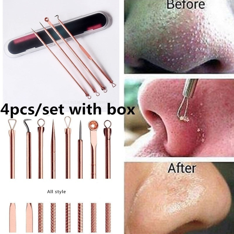 4pcs/set Uniex Beauty Stainless Steel Blackhead Blemish Pimple Extractor Acne Removal(with Storage Box)