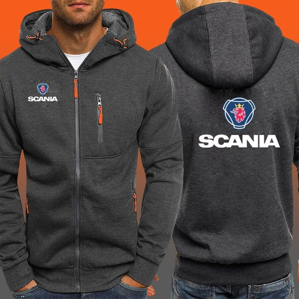 Scania Print Zipper Jacket Mens Autumn New Men Hoodies Sweatshirts Casual Fleece Coat Male Fashion Brand Tracksuit