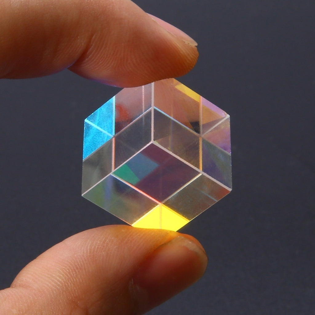 Optical Glass Cube Defective Cross Dichroic Prism RGB Combiner Splitter Decor Educational Gift