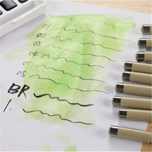 9x Sakura Pigma Micron Drawing Pen 005 01 02 03 04 05 08 1.0 Brush Art Supplies