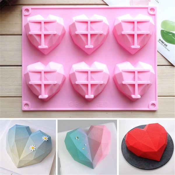 DIY 3D Heart Shape Silicone Mousse Cake Molds Jelly Pudding Mould