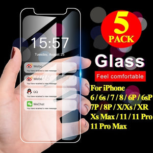 5 PCS 9H Ultra-thin Tempered Glass For iPhone 11 Screen Protector Protective Glass Film for iPhone 11 / 11 Pro / 11 Pro Max / Xs / XR / X / Xs Max / 8 / 8 Plus / 7 / 7 Plus / 6 / 6 Plus / 6s / 6s Plus / 5 / 5C / 5S / SE
