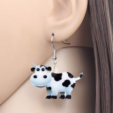 Load image into Gallery viewer, Acrylic Sweet Anime Dairy Cow Cattle Earrings Dangle Drop Unique Farm Animal Jewelry For Women Girls Kids Teen Party Gifts Charms