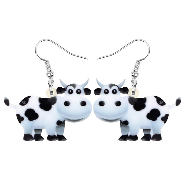 Acrylic Sweet Anime Dairy Cow Cattle Earrings Dangle Drop Unique Farm Animal Jewelry For Women Girls Kids Teen Party Gifts Charms