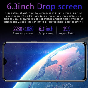 2020 Hot High Version 9.1 6.3 Inch Water Drop Screen  MTK6797 10 Core 8G+256G Dual SIM Card Dual Standby GPS GSM 4G5G Smartphone.
